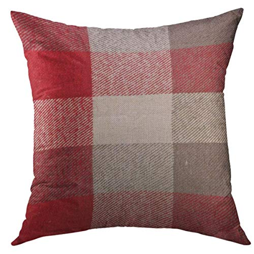 Mugod Decorative Throw Pillow Cover for Couch Sofa,Plaid Red Grey Tartan Material As Fuzzy Stripes Home Decor Pillow Case 18x18 Inch (Grey Red Pillows And)