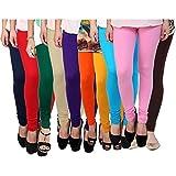Super weston Women's Cotton Leggings - Pack of 10(6847524_Multicolour_Free Size)