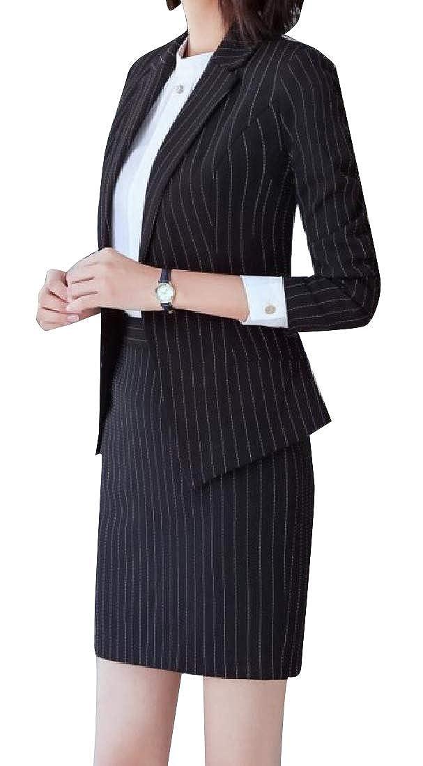 YUNY Women Classic Fit Striped Faux Shearling Dress Suit 2pcs Black XL