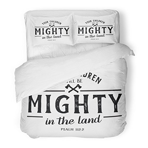 SanChic Duvet Cover Set Jesus Your Children Will Be Mighty in the Land Bible Verse Psalms Design Christian Decorative Bedding Set with 2 Pillow Shams Full/Queen Size by SanChic