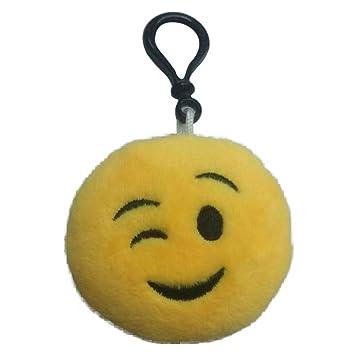 VANKER 6CM Mini amarillo Emoji sonriente del Emoticon relleno suave felpa llavero de juguete -- guiño