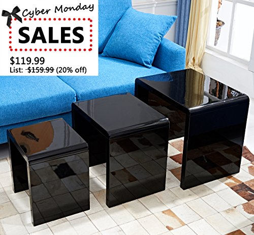 [CYBER MONDAY SALE] LSCING Collection Stackable Glossy Finish 3-Piece End Table Side Nesting Table, Black