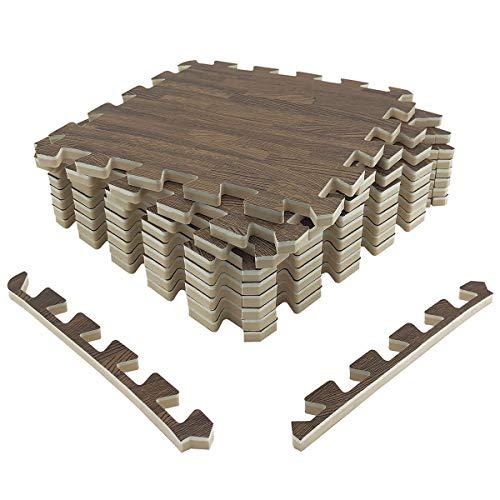 "LaFamille Extra Thick Wood Grain Floor Mat 1/2"", 9 Tiles 9 sq ft Foam Interlocking Puzzle Wood Mat for Kids, Gym, Basement 1"