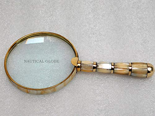 Solid Brass Mother of Pearl 10X Magnifier, Handheld Reading Magnifying Glass, Best for Reading, Crossword Puzzle, Rocks, Coins, Stamps and