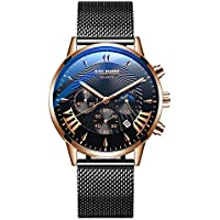 New Arrival Mens Watches Waterproof Chronograph Watches Business Casual with Calendar Luminous Slim Stainless Steel Band Wrist Watch for Men
