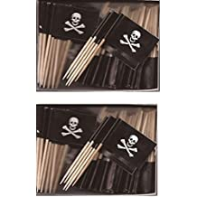 2 Boxes of Mini Jolly Roger Toothpick Flags, 200 Small Pirate Skull and Crossbones Flag Toothpicks or Cocktail Sticks & Picks