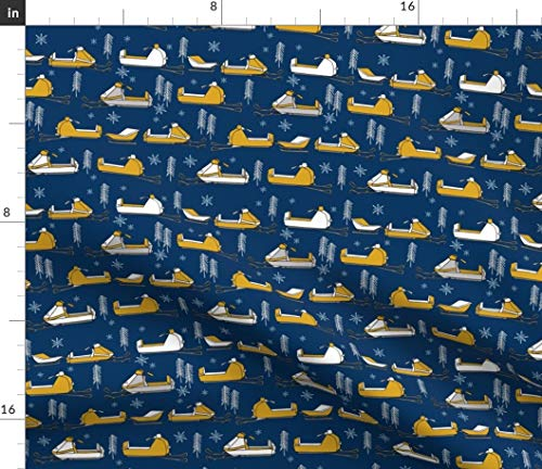 Snowmobiles Fabric - Alaska Sport Mustard Navy Snowflakes Snow Plow Mobility by Andrea Lauren Printed on Fleece Fabric by The Yard