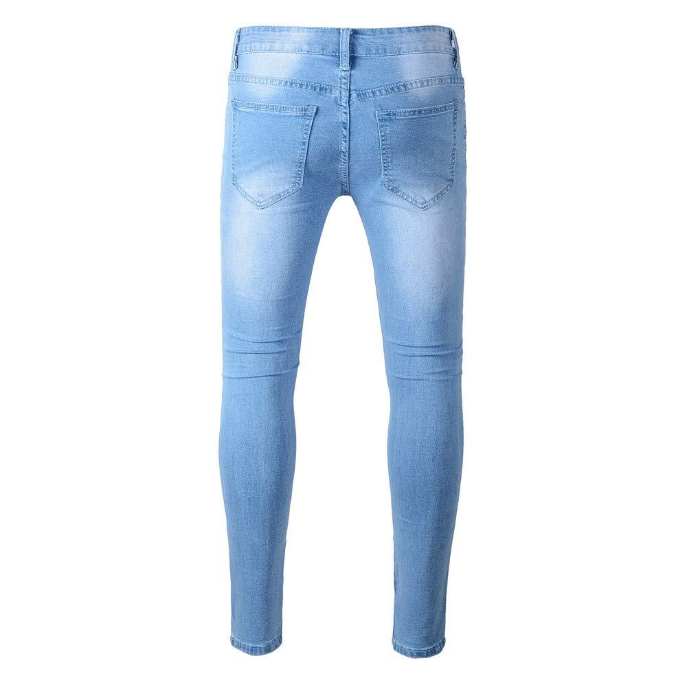 SMTSMT/_Mens pants Mens Stretchy Ripped Skinny Biker Jeans Destroyed Taped Slim Fit Denim Pants