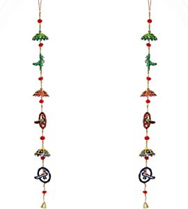 Aditri Creation Hanging Traditional Bird Door Hanging Set of 2 for Home Door, Wall, Temple, Bedroom, Decorative Accessories for Party, Indian Wedding, Christmas & Other Festivities, 42 Inch Long