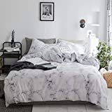 Duvet Cover Set White Marble 3 Piece Bed Set 100% Cotton with Zipper Closure Organic Modern Comforter Set Full/Queen