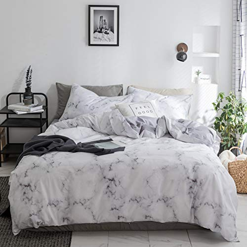 Duvet Cover Set White Marble 3 Piece Bed Set 100% Cotton with Zipper Closure Organic Modern Comforter Set Full/Queen ()