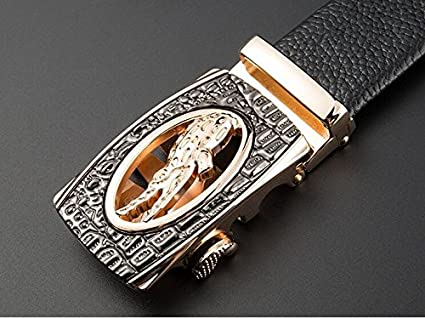 QIU PING Mens Business Top Layer Cowhide Alloy Automatic Buckle Gift Box Belt