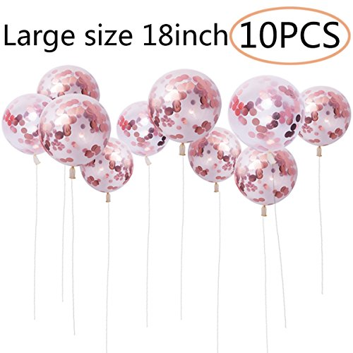 ZSNICE 10 pcs 18inch Rose Gold Confetti Balloons Huge Size, Latex Balloon, Party Decorations Supplies Helium Balloons for Birthday, Baby Shower, Wedding, Engagement, Mother's Day, Graduations