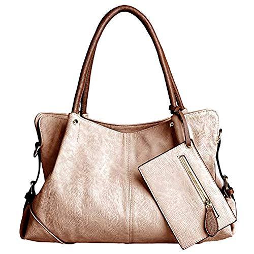 UTO Women Hobo Purse 3 Pieces Handbag Set PU Leather Tote Bag Satchel Shoulder Bags with Wristlet Wallet (Apricot)