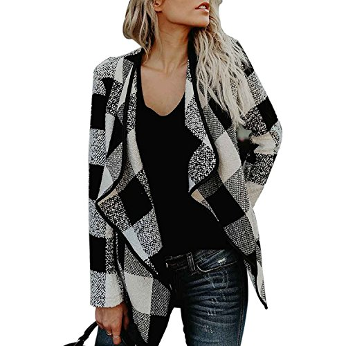Womens Casual Autumn Black White Buffalo Plaid Open Front Jacket Lapel Coat XL (Plaid White Fleece)