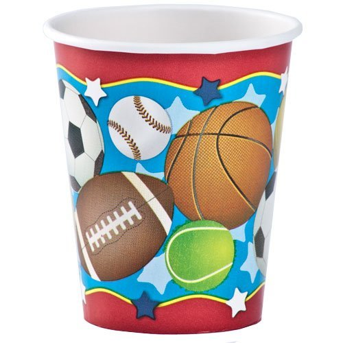 Hanna K. Signature Collection 12 Count Birthday Sports Hot/Cold Paper Cup, 9 oz., Red