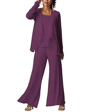 ecfb7cf1374cc Vincent Bridal Women s 3 Pieces Mother of The Bride Dress Pants Suit with  Jacket Women Formal
