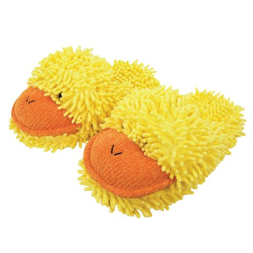 Aroma Home Aromahome Fuzzy Friends Yellow Ducky Duck Womens Adult Slippers (Fuzzy Frog Slippers)