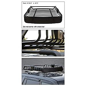 Topline Autopart Universal Heavyduty Steel Roof Rack Cargo Basket Carrier Travel Luggage Storage with Wind Fairing (Black)