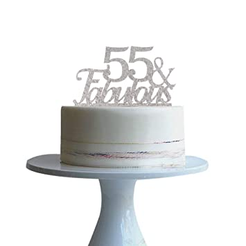 55 Fabulous Silver Cake Topper For 55th Birthday Party Decorations