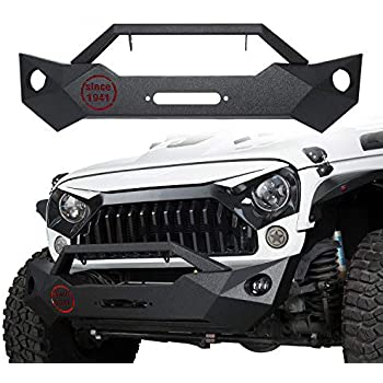 b70957622faa Jeep Wrangler Front Bumper w Winch Plate Rock Crawler Texture Black (Jeep  Wrangler JK 2007-2018)