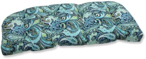 Pillow Perfect Outdoor Indoor Pretty Paisley Navy Tufted Loveseat Cushion, 44 x 19 , Blue