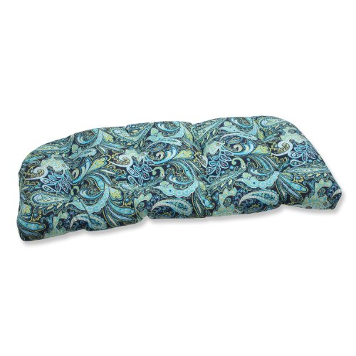 Pillow Perfect Outdoor Pretty Paisley Wicker Loveseat Cushion, ()
