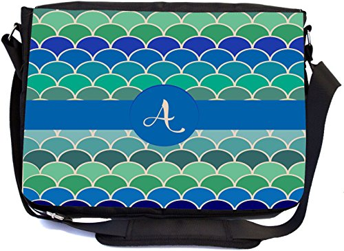 Rikki Knight Letter A Turquoise Sea Colors Scallop Monogrammed Design Combo Multifunction Messenger Laptop Bag - with Padded Insert for School or Work - Includes Wristlet & Mirror