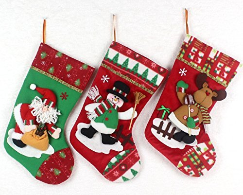 D Applique Style Felt Christmas Stockings, Detailed Designs, Embroidered Edges, Hanging Loops, Includes Santa, Snowman and a Reindeer (Plush Snowman Christmas Stocking)