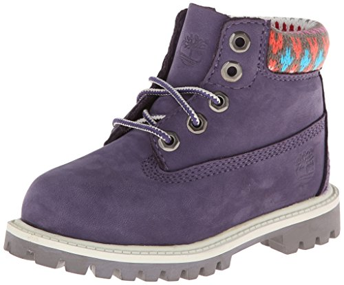 Timberland 6in Prem Wp, Unisex-kinder Stiefel Paars Met Multi Sweater