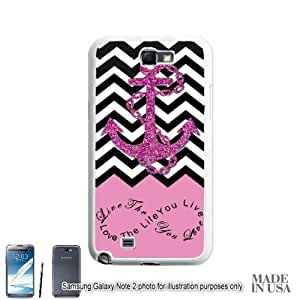 Anchor Live the Life You Love Infinity Quote (Not Actual Glitter) - Light Pink Black White Chevron with Anchor For Iphone 5/5S Case Cover HardWHITE by Gifts