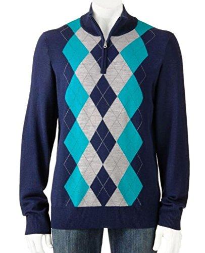 Liz Claiborne Apt 9 Argyle 1/4 Zip Sweater Merino Wool Blend Big & Tall 2XLT Blue