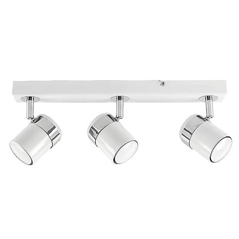 MiniSun – Plafón de techo con 3 focos – regleta de luz en blanco brillante y cromo.