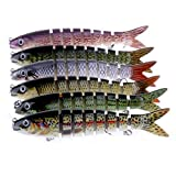 Isafish Swimbaits For Bass Crankbait Bionic Multi Jointed 8 Segment Pike Fishing Lures Minnow Hard Bait 5.35 Inch 0.66 Ounce