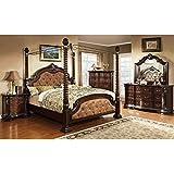 Monte Vista Dark Walnut Finish King Size 6 Piece Canopy Bedroom Set