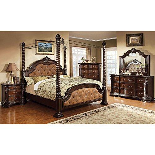 monte vista dark walnut finish cal king size 6piece canopy bedroom set
