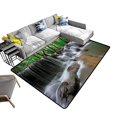 Nature Area Rug Carpet Waterfall at Forest in Tropical Environment Unusual Woodland Scenery Art Door mat 6'6