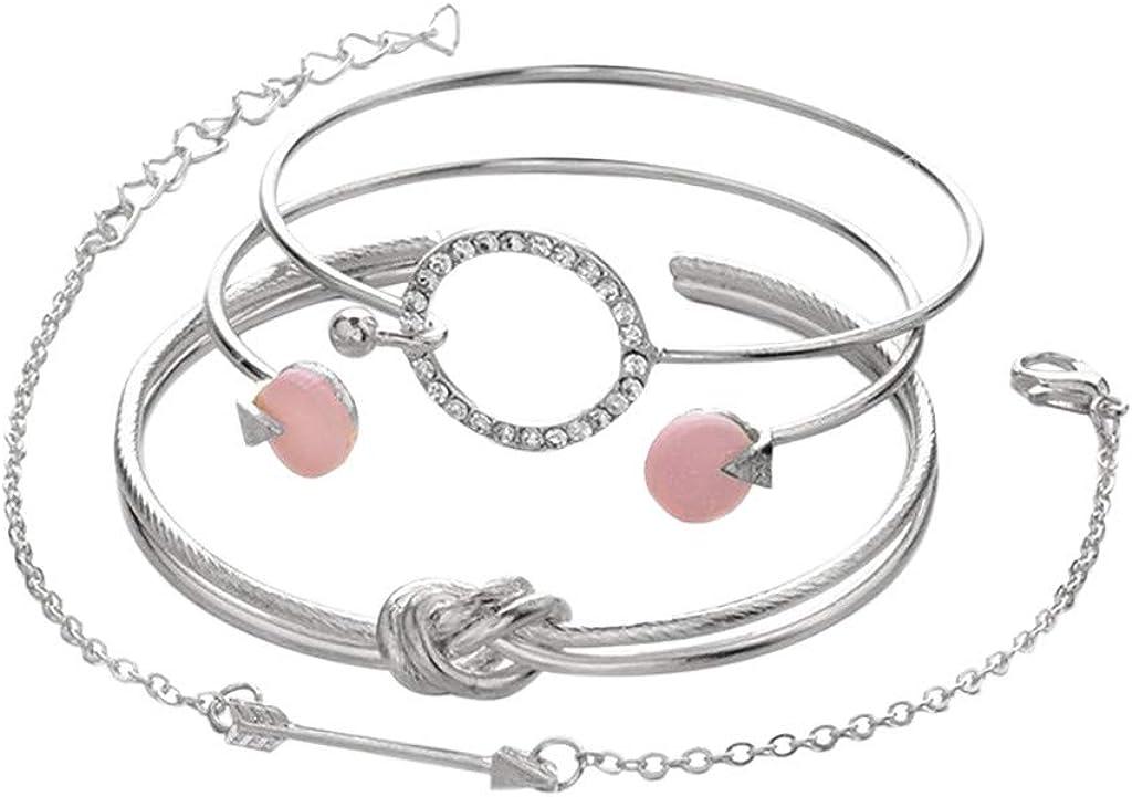 Fashion Women Multilayer Gold Silver Cuff Charm Bangle Chain Bracelet Jewelry