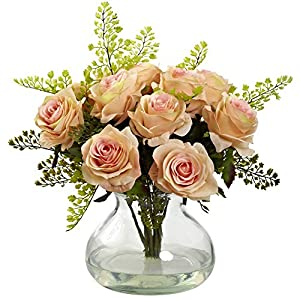 Nearly Natural 1366-PH Rose and Maiden Hair Arrangement with Vase, Peach 42