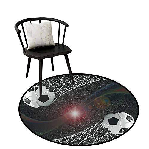 Bathroom Round Area Rug Carpet Teen Room Soccer Balls Goal Match Success Concept in The Outer Space Winner Glory Theme Non Slip mat D19.6 Multicolor