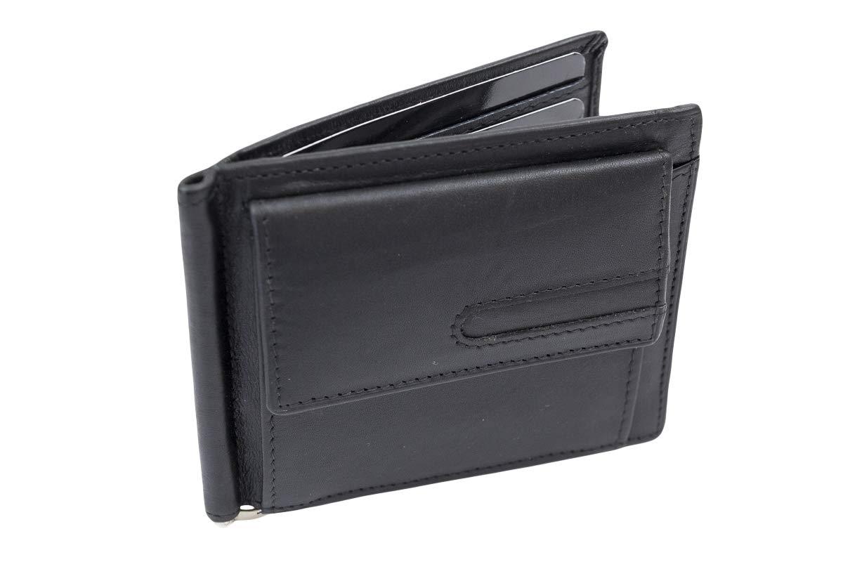 LEAS Dollar Clip mit Kleingeldfach Geldscheinklammer flach Geldklammer Money Clip extra dünn für 8 Karten Echt-Leder, Portmonee mit Geschenk Box, schwarz LE8326-01-01R