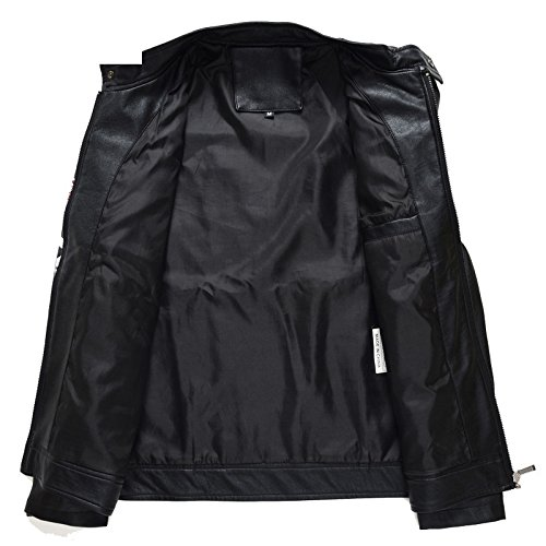 Motorcycle Moto Leather Jacket Men Mens Air Force Military Tactical Leather Jacket Male Faux Biker Leather Winter Coat.BB50 at Amazon Mens Clothing store: