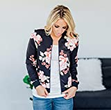 ChainJoy Women Floral Zipper Jacket Classic Long Sleeve Short Bomber Jacket Coat