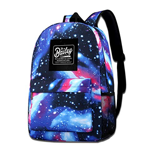 Galaxy Printed Shoulders Bag Its A Wonderful Life Baileys Brothers Building And Loans Association Fashion Casual Star Sky Backpack For Boys&girls