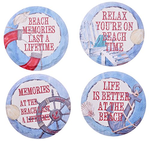 Giftale Pack of 4 Ceramic Coasters for Drinks Beach Memories Theme Gift Idea Coffee Mat -