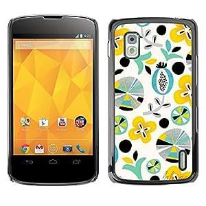 Be Good Phone Accessory // Dura Cáscara cubierta Protectora Caso Carcasa Funda de Protección para LG Google Nexus 4 E960 // Art Shapes Yellow Teal Pattern