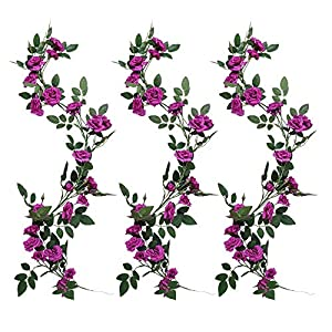 YUYAO 3PCS(9.9FT) Artificial Rose Vines Fake Silk Flower Garlands Plant Hanging Rose Vine Garland Wedding Home Garden Arch Arrangement Decoration (Purple) 1