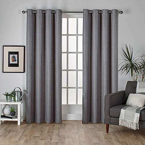 Silk Window Classic Panel - Exclusive Home Curtains Raw Silk Thermal Window Curtain Panel Pair with Grommet Top, 54x108, Black Pearl, 2 Piece
