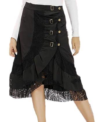 Huateng Falda gótica Oscura con Estampado de Mariposa Rosa para ...
