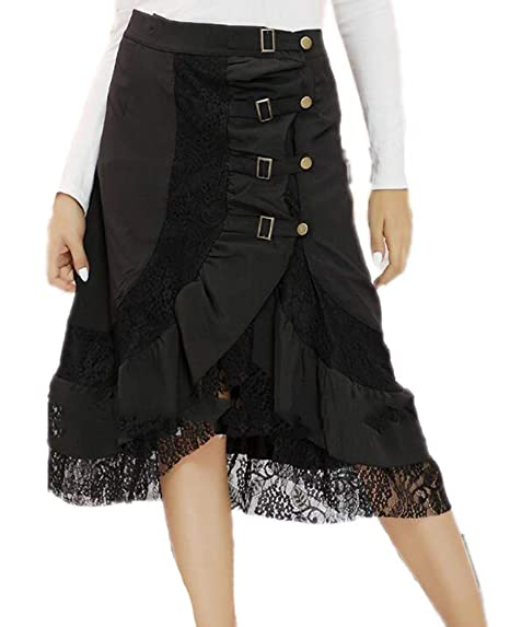 Oneforus Falda Punky gótica Oscura para Mujer Falda Corta de ...